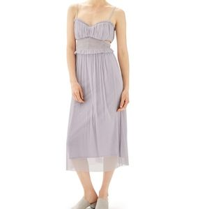 Side Cutout Tulle Midi Dress lilac